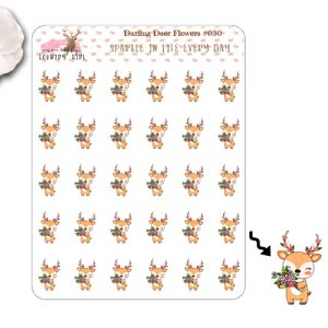 Darling Deer Flowers Sticker Sheet