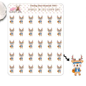 Darling Deer Basketball Sticker Sheet