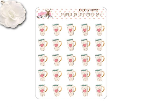 Shabby chic coffee cup stickers
