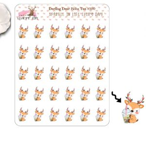 Darling Deer Boba Tea Sticker Sheet