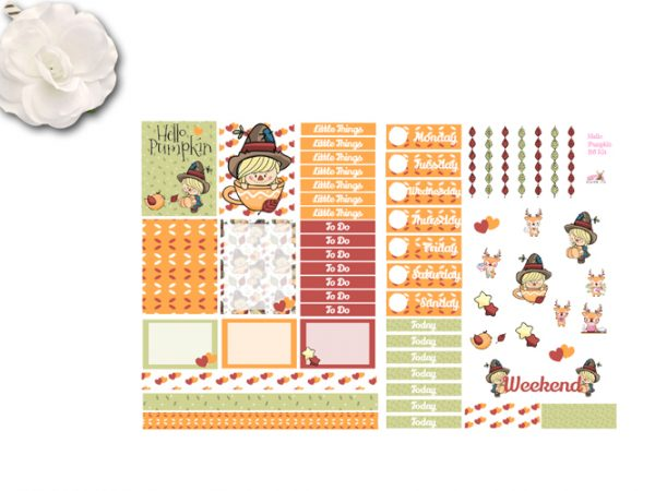 hello pumpkin 2 page sticker kit