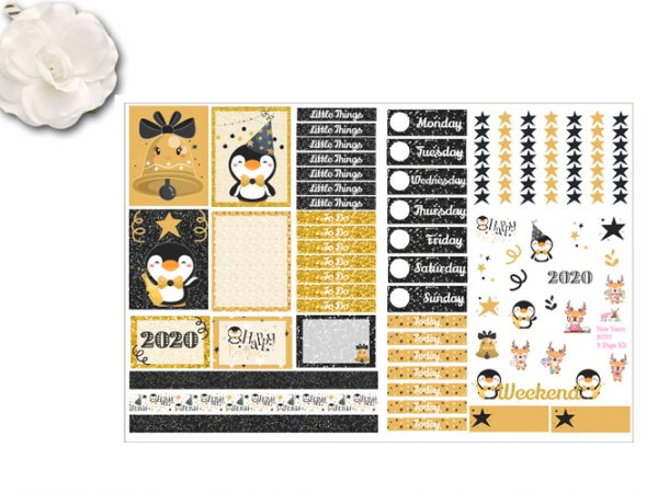 New Years 2 page stickers kit 2020
