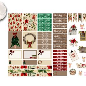 Rustic Christmas 2 page sticker kit