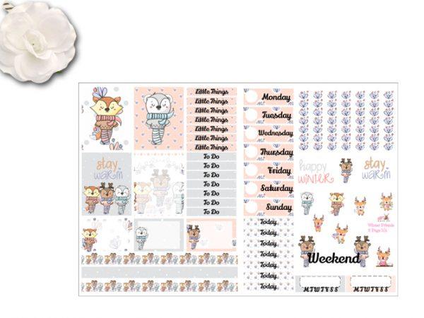 New 2 page Winter Friends Sticker Kit
