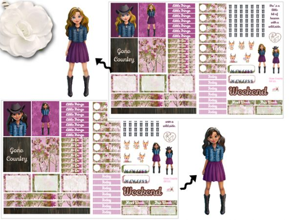 2 page Gone Country both skin tones sticker kits