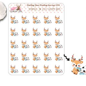 Darling Deer Feeding the Dog Sticker Sheet