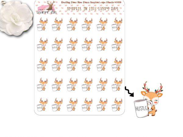 Darling Deer Rae Dunn Inspired Hustle Sticker Sheet