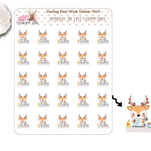 Darling Deer Washing Dishes Sticker Sheet