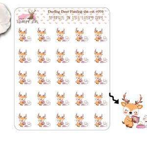 Darling Deer Feeding The Cat Sticker Sheet